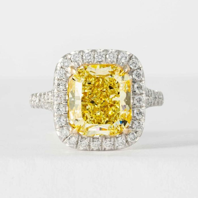 5.27 ct GIA FY VS2 Radiant Cut Canary Diamond Ring - ENGAGEMENT Boston