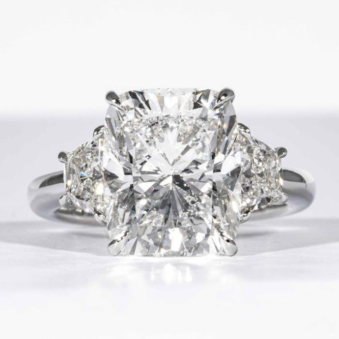 5.29 carat D SI2 Cushion Cut Diamond 3-Stone Platinum Ring (AGS Certified) - ENGAGEMENT Boston