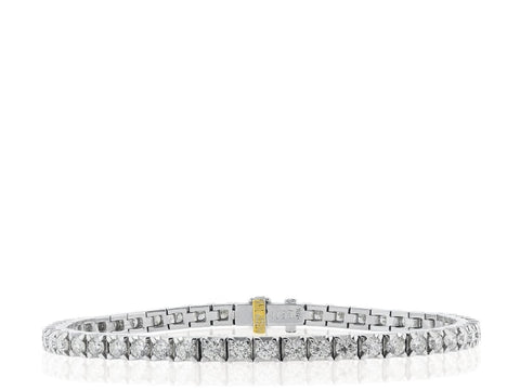 5.33 Carat Diamond Tennis Bracelet (18K White Gold) - Jewelry Boston