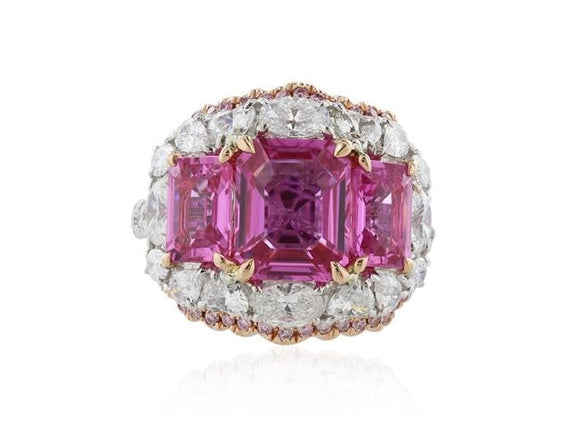 5.34 Carat Unheated Asscher Cut Pink Sapphire Ring W/ Diamonds (18K White Gold) - Jewelry Boston