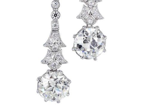 5.36ct Old European Cut Diamond Drop Earrings (Platinum) - JEWELRY Boston