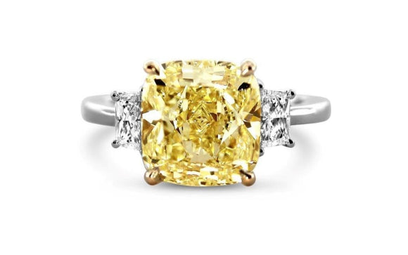 5.40 Carat Gia Certified Canary Diamond Ring - Jewelry Boston