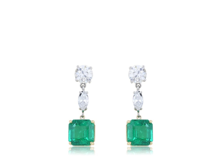 5.43ct Emerald & Diamond Drop Earrings (Platinum) - JEWELRY Boston