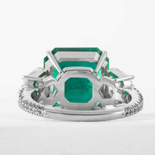 Load image into Gallery viewer, 5.48 carat Colombian Emerald & Diamond 3-Stone Platinum Ring - JEWELRY Boston