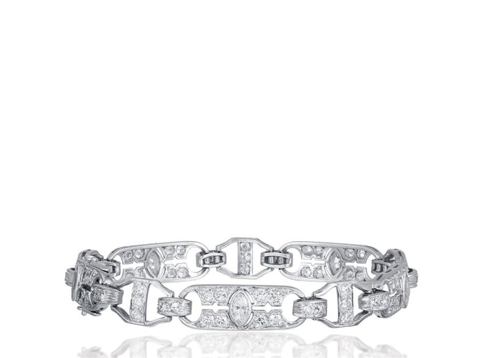 5.50 Carat Art Deco Diamond Bracelet (Platinum) - Jewelry Boston