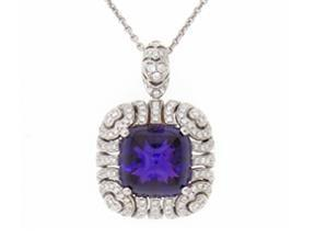 5.50 Carat Cabochon Amethyst And Diamond Pendant Necklace - Jewelry Boston