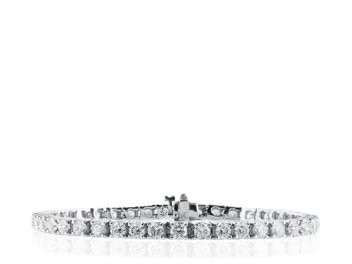 5.61ctw Round Brilliant Diamond Tennis Bracelet (White Gold) - JEWELRY Boston