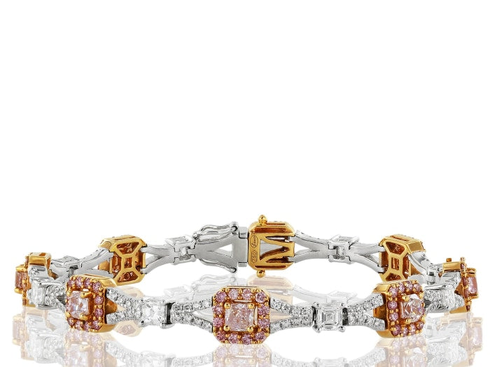 5.65 Carat Pink & Colorless Diamond Bracelet - Jewelry Boston
