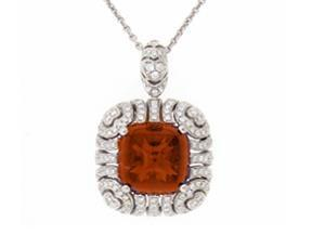 Citrine And Diamond Gold Pendant Necklace - Jewelry Boston