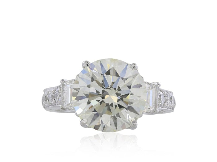 5.75 Carat Round Brilliant Cut Diamond Engagement Ring (Platinum) - Jewelry Boston