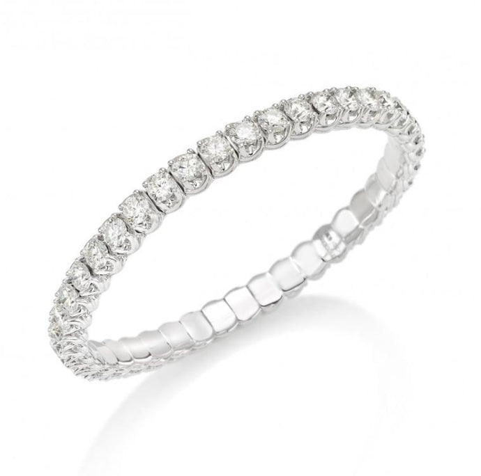 5.78ctw Round Diamond Tennis Expandable Bracelet (White Gold) - Jewelry Designers Boston