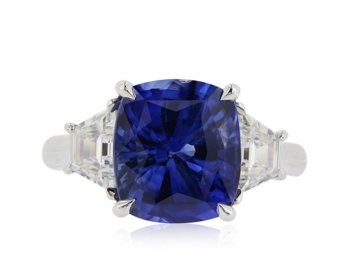 5.80ct Royal Blue Ceylon Sapphire & Diamond 3-Stone Ring (White Gold) - JEWELRY Boston