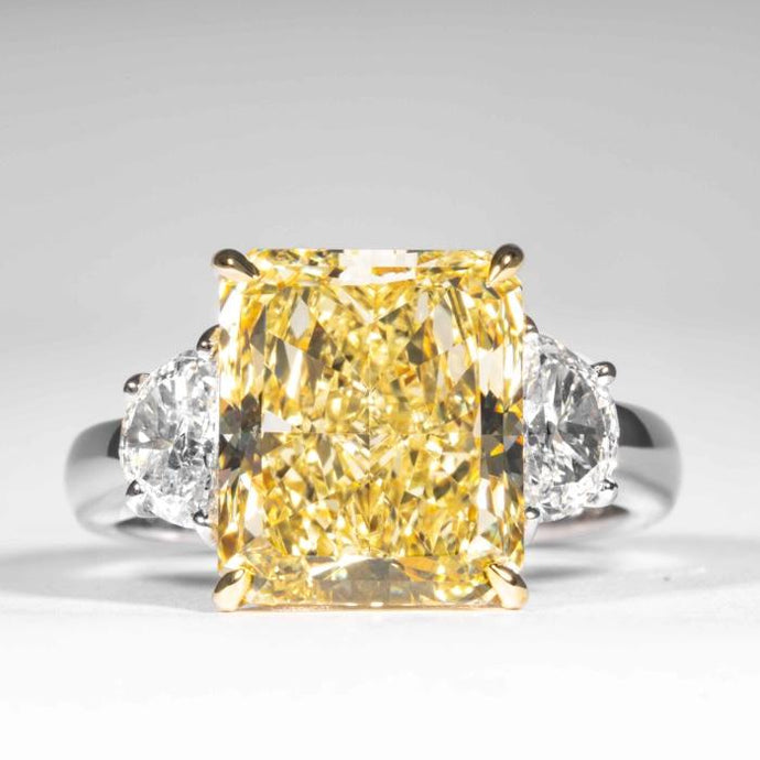 5.87 carat Fancy Yellow Radiant Cut Canary Diamond Ring (GIA Certfied) - JEWELRY Boston