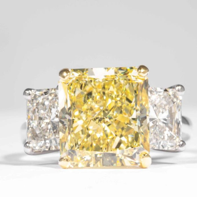 5.87ctw Radiant Cut Canary Diamond Ring (GIA Certified Two Tone) - JEWELRY Boston