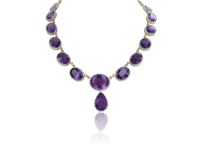 50.00 Carat Amethyst Drop Necklace - Jewelry Boston