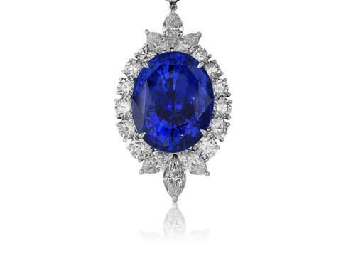 50.14 Carat Ceylon Blue Sapphire Necklace W/ Diamonds (Platinum) - Jewelry Boston