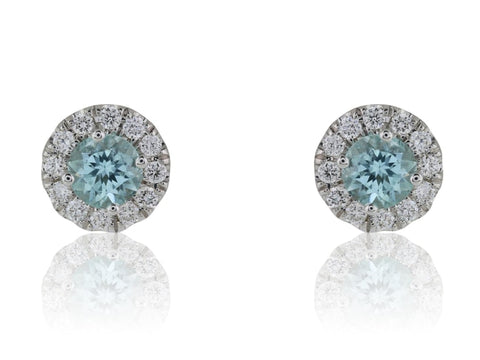 .50 Carat Paraiba Tourmaline & Diamond Cluster Earrings - Jewelry Boston