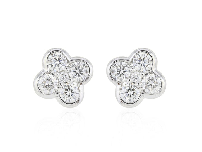 .50Ct Clover Diamond Stud Earrings - Boston
