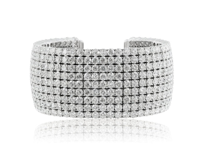 52.61ctw Round Brilliant Cut Diamond Cuff Bracelet (White Gold) - JEWELRY Boston