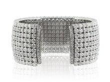 Load image into Gallery viewer, 52.61ctw Round Brilliant Cut Diamond Cuff Bracelet (White Gold) - JEWELRY Boston