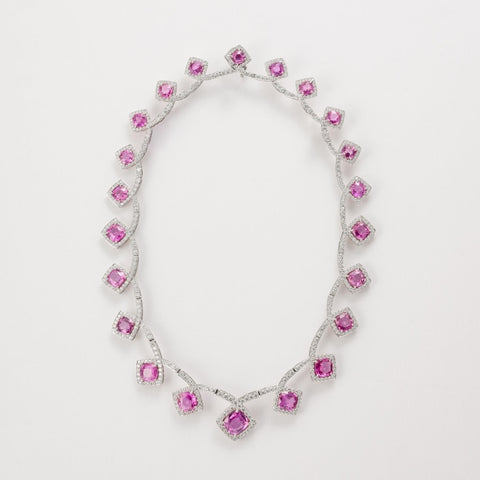 58.46ct Pink Sapphire & Diamond Necklace (Platinum) - JEWELRY Boston