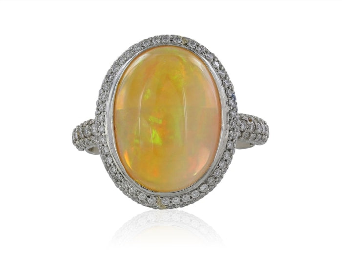 6.00 Carat Opal And Diamond Ring (Platinum) - Jewelry Boston
