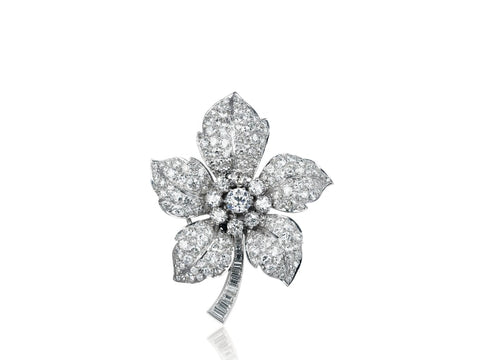 6.00 Carat Vintage Diamond Flower Pin - Jewelry Boston