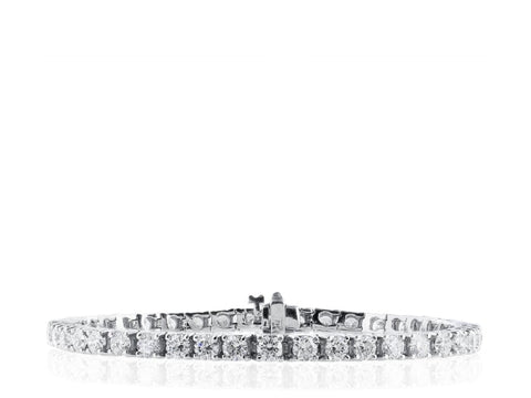 6.01 Carat Diamond Tennis Bracelet (18K White Gold) - Jewelry Boston