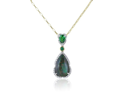 6.04 Carat Black Opal Tsavorite Emerald And Diamond Pendant Necklace (18K Yellow Gold) - Jewelry Boston