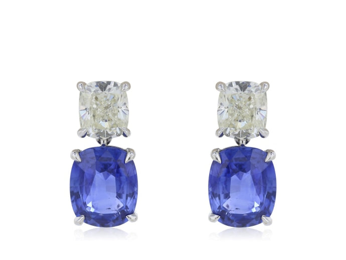6.07ct Ceylon Sapphire & Diamonds Drop Earrings (GIA White Gold) - JEWELRY Boston