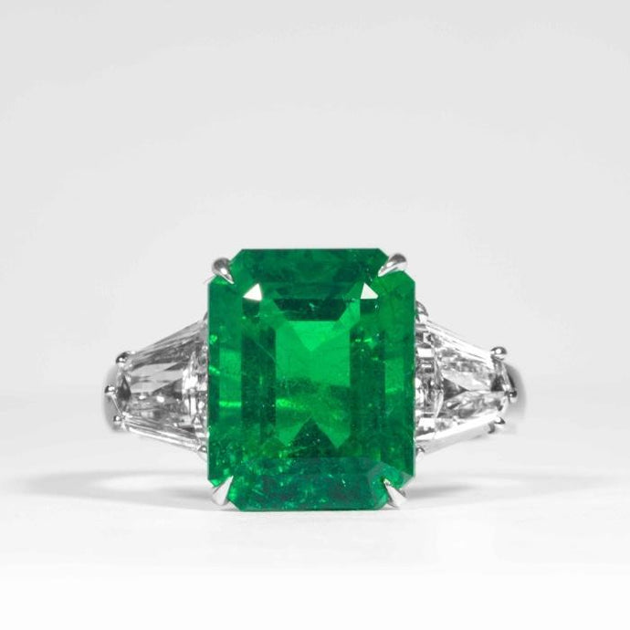 6.08ct Emerald & Diamond 3-Stone Ring (Platinum) - JEWELRY Boston
