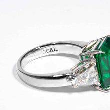 Load image into Gallery viewer, 6.08ct Emerald & Diamond 3-Stone Ring (Platinum) - JEWELRY Boston