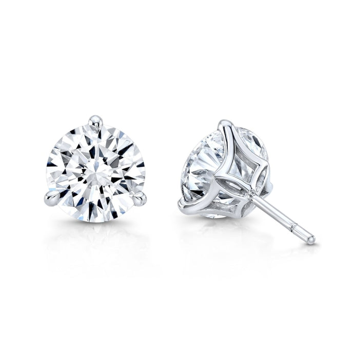 6.08ctw Round Brilliant Diamond Stud Earrings (White Gold) - Jewelry Designers Boston