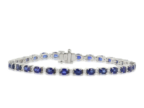 6.12ct Sapphire & Diamond Bracelet (White Gold) - JEWELRY Boston