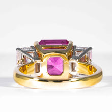 Load image into Gallery viewer, 6.13 carat Radiant cut Pink Sapphire & Diamond 3-Stone Ring (GIA Certified) - JEWELRY Boston