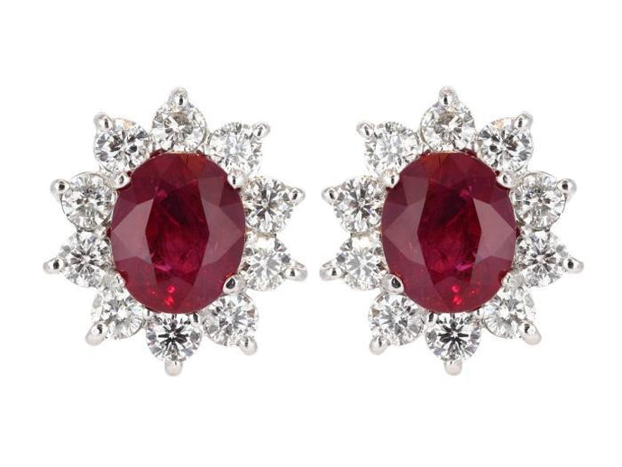 6.22 Carat Burma Ruby & Diamond Cluster Earrings (18k White Gold) - JEWELRY Boston