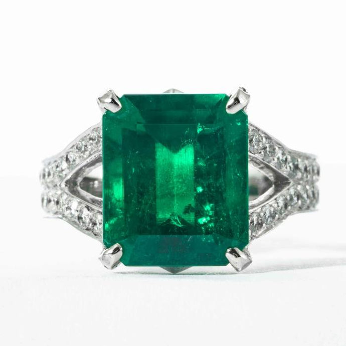 6.25ct Columbian Emerald & Diamond Ring - Boston