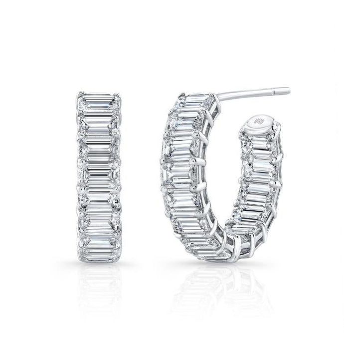 6.33 Carat F-G/VS Emerald Cut Huggie Hoops - Boston
