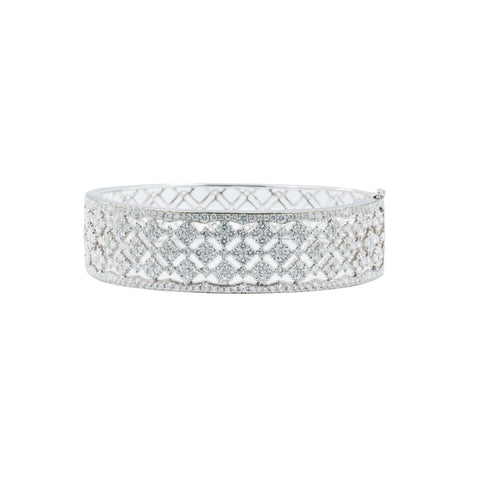 6.33ct Wide Diamond Bangle (18k White Gold) - JEWELRY Boston
