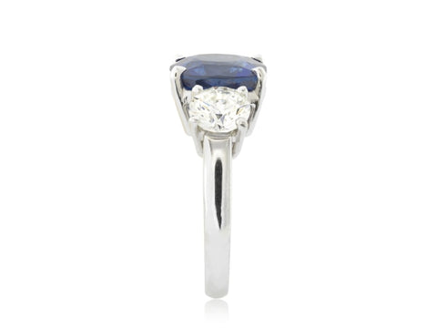 6.37 Carat Cushion Cut Sapphire And Diamond Ring - Jewelry Boston