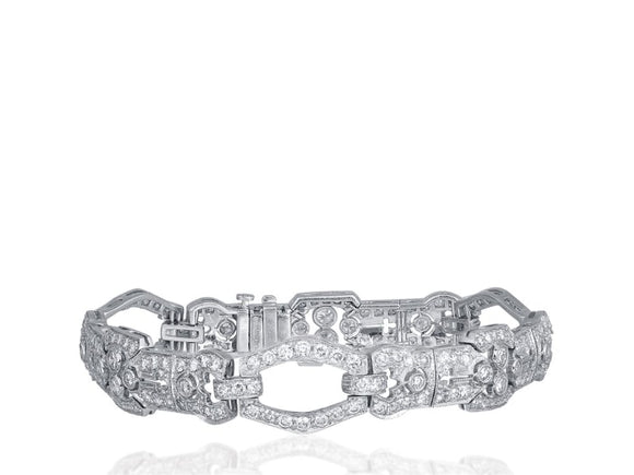 6.50 Carat Art Deco Diamond Bracelet (Platinum) - Jewelry Boston