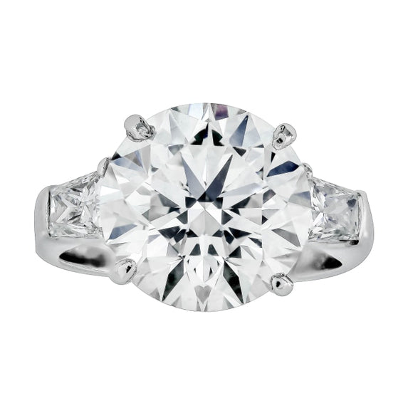 6.52ct Round Brilliant Cut Diamond Ring (GIA J/SI2 Platinum) - JEWELRY Boston
