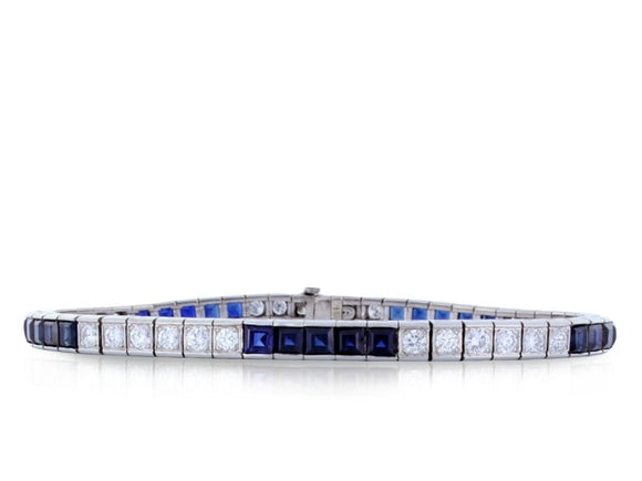 6.58 Carat Estate Sapphire Bracelet W/ Diamonds (Platinum) - Jewelry Boston