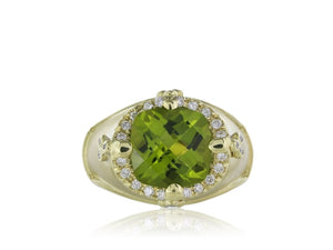 6.60 Carat Peridot And Diamond Ring (18K Yellow Gold) - Jewelry Boston