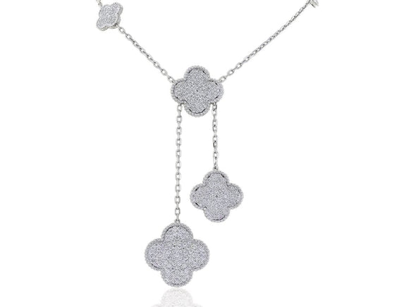 6.64 Carat Clover Motif Necklace (18K White Gold) - Jewelry Boston