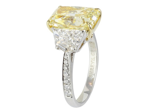 6.64 Radiant Brilliant Cut 3 Stone Canary Diamond Ring (Platinum) - Jewelry Boston