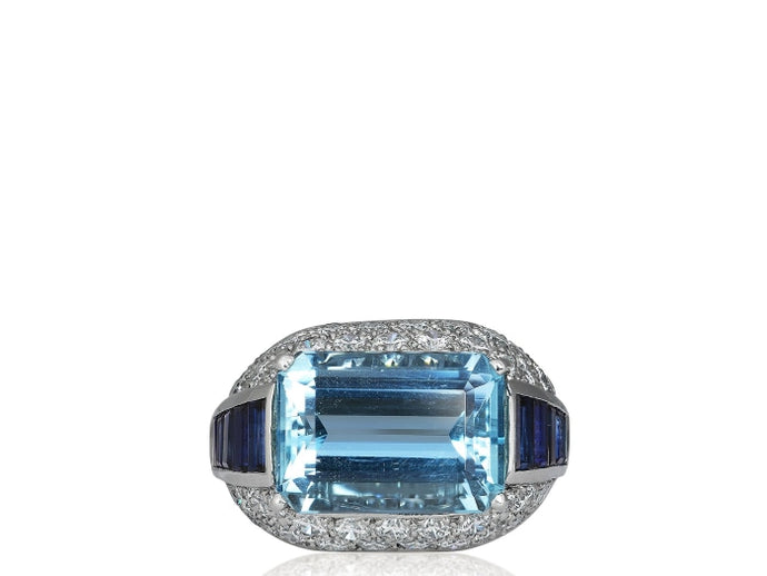 6.95ct Aquamarine Ring signed Oscar Heyman - Jewelry Designers Boston