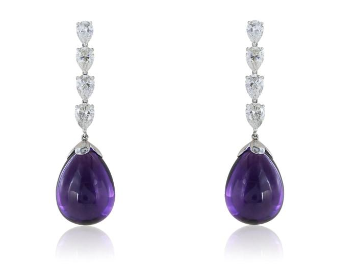 Platinum 63.82 Carat Amethyst Briolette Drop Earrings - Jewelry Boston