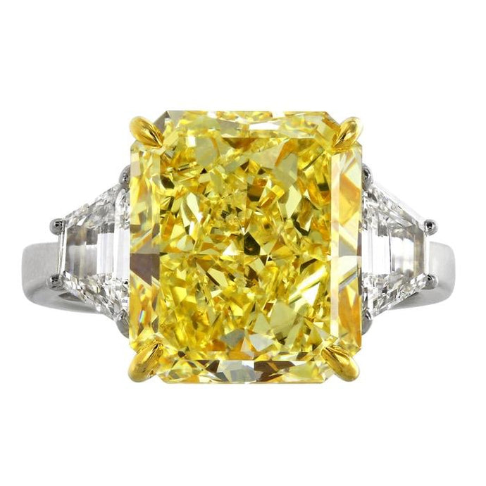 7.01ct Radiant Cut Canary Diamond Ring - JEWELRY Boston