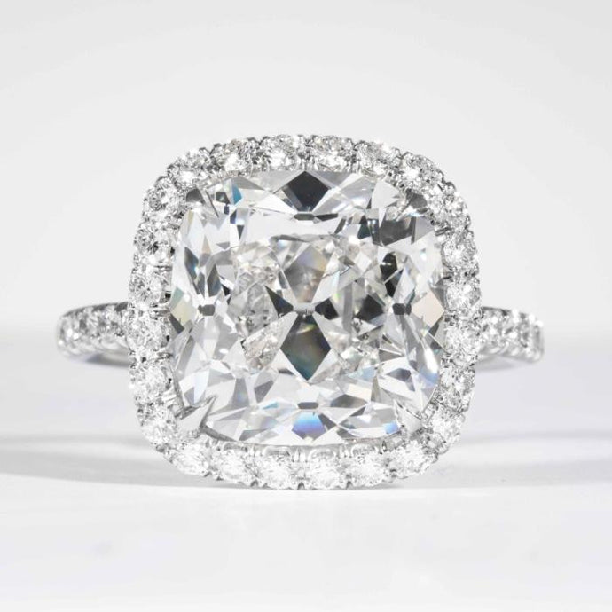 18 kt wg Cushion Cut 7.01 carat Diamond GIA #6177818130 G SI2+ Pave Halo Engagement Ring. - Boston